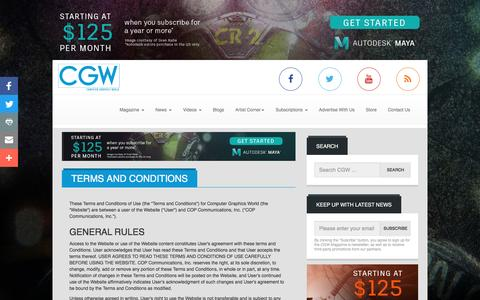 Screenshot of Terms Page cgw.com - Computer Graphics World | Terms and Conditions - captured Nov. 10, 2016
