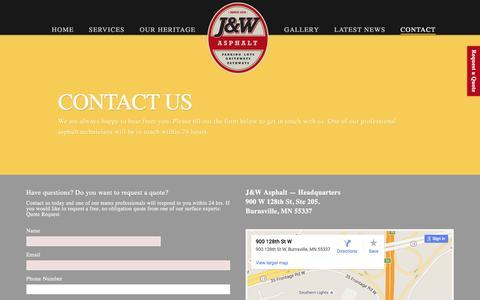 Screenshot of Contact Page jwasphalt.com - Contact Us - captured July 20, 2016
