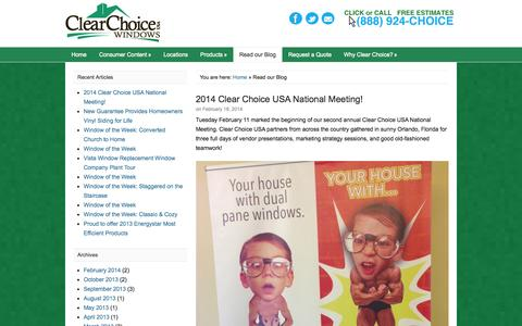 Screenshot of Blog clearchoice-usa.com - Read our Blog - Replacement Windows from Clear Choice USA - captured Sept. 29, 2014