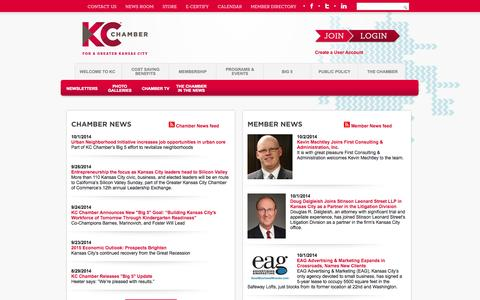 Screenshot of Press Page kcchamber.com - News Room - Greater Kansas City Chamber of Commerce - captured Oct. 3, 2014