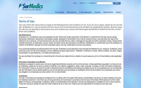 Screenshot of Terms Page surmodics.com - Terms of Use |SurModics: Medical Device Coatings & In Vitro Diagnostics (IVD) - captured Sept. 30, 2014