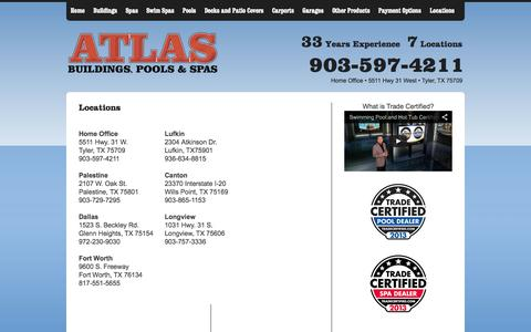Screenshot of Locations Page atlasbuildingspoolsandspas.com - Portable Storage Buildings, Barns, Garages, Offices, Cabins, Carports and Decks. - CONTACT ATLAS BUILDING SYSTEMS - captured Sept. 30, 2014