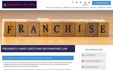 Screenshot of FAQ Page goldlawgroup.com - Franchise Lawyers - FAQ on Franchise Law - captured Sept. 29, 2018