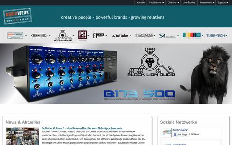 Screenshot of Home Page audiowerk.eu - Audiowerk: Vertrieb für Pro Audiotechnik und Musikelektronik - captured March 26, 2017