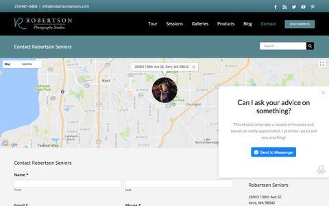 Screenshot of Contact Page robertsonseniors.com - Robertson Seniors - Contact Us for Great Senior Portraits! - captured Dec. 14, 2017