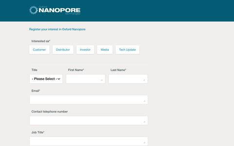 Register your interest in Oxford Nanopore