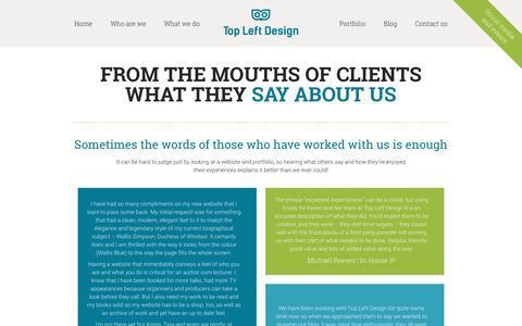 Screenshot of Testimonials Page topleftdesign.com - Testimonials - Top Left Design - captured Jan. 15, 2016