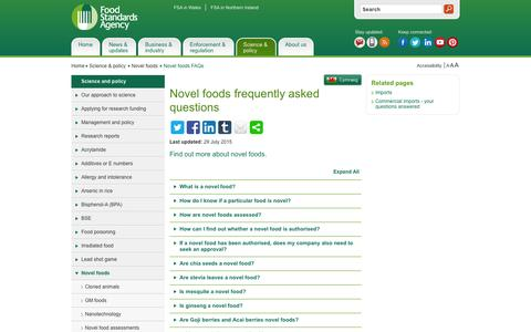Screenshot of FAQ Page food.gov.uk - Novel foods frequently asked questions | Food Standards Agency - captured Feb. 10, 2016