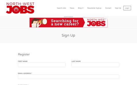 Screenshot of Signup Page north-westjobs.com - Sign Up - North-West Jobs - captured Oct. 21, 2018