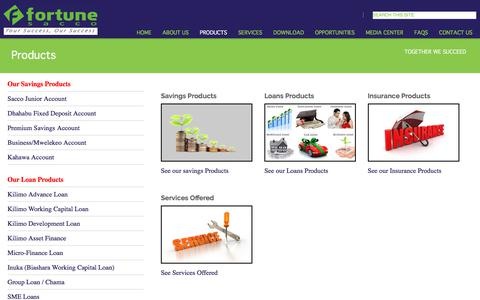 Screenshot of Products Page fortune.co.ke - Fortune Sacco - Your Success Our Success - captured Oct. 13, 2017