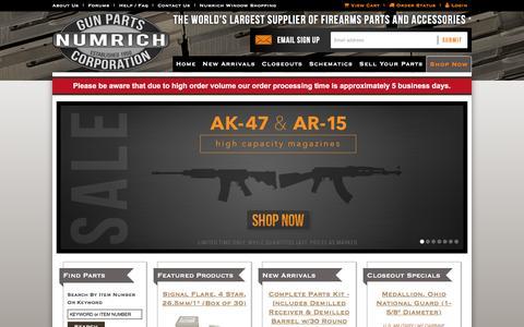 Screenshot of Home Page gunpartscorp.com - Firearm Parts & Accessories | Military Surplus | Numrich Gun Parts - captured Feb. 16, 2016