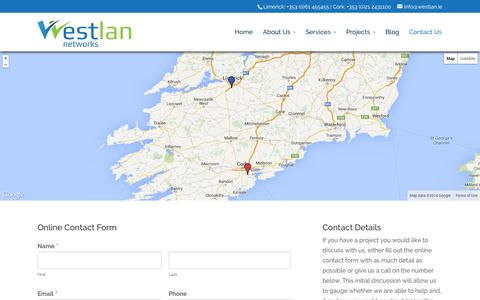 Screenshot of Contact Page westlan.ie - Contact data cabling & structural network cabling provider in Limerick, Dublin, Cork and Galway - captured Oct. 26, 2014