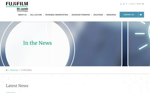 Screenshot of Press Page fujifilmdiosynth.com - Industry News | FUJIFILM Diosynth Biotechnologies - captured Feb. 22, 2020