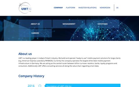 Screenshot of About Page umt.ag - About Us - UMT AG - captured Dec. 6, 2016