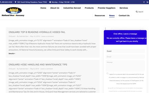 Screenshot of Press Page nationalhose.com - News | National Hose & Accessory - captured Oct. 19, 2018