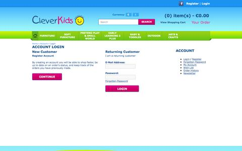 Screenshot of Login Page cleverkids.ie - Account Login - captured Dec. 9, 2015