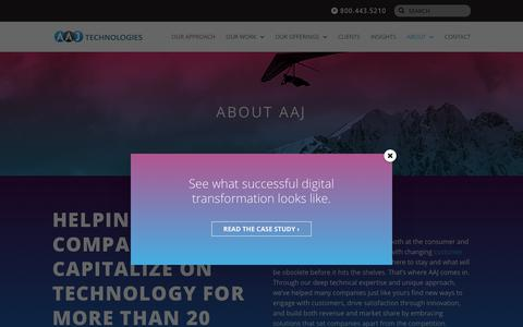 Screenshot of About Page aajtech.com - About | AAJ Technologies - captured Oct. 2, 2018