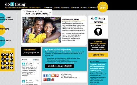 Screenshot of Home Page do1thing.com - Do1Thing - captured Oct. 7, 2014