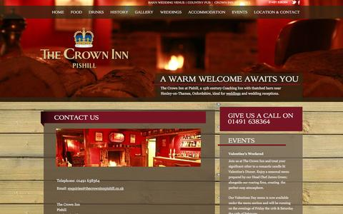 Screenshot of Contact Page thecrowninnpishill.co.uk - Crown Inn - contact - captured Feb. 15, 2016