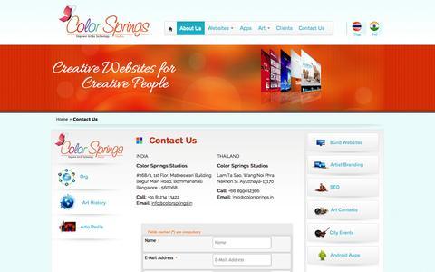 Screenshot of Contact Page colorsprings.in - Color Springs – Artist Ocean - captured Oct. 2, 2014
