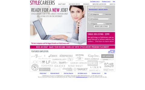 Screenshot of Home Page stylecareers.com - STYLECAREERS.COM: The largest, fashion-only job listing site on the Internet!!! - captured Sept. 19, 2014