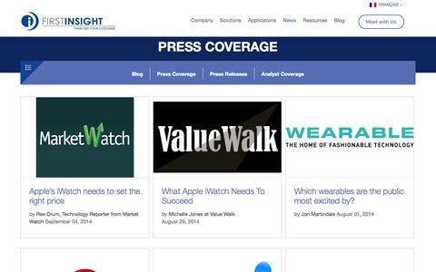 Screenshot of Press Page firstinsight.com - Press Coverage - captured Sept. 16, 2014