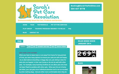 Screenshot of FAQ Page sarahthepetsitter.com - FAQ - NOLA Dog walking, Cat Sitting - Sarah the Pet Sitter LLCSarah's Pet Care Revolution - captured Oct. 3, 2014