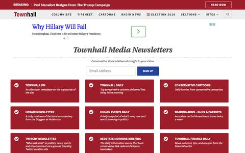 Screenshot of Signup Page townhall.com - Conservative news, politics, opinion, breaking news analysis, political cartoons and commentary – Townhall - captured Aug. 19, 2016