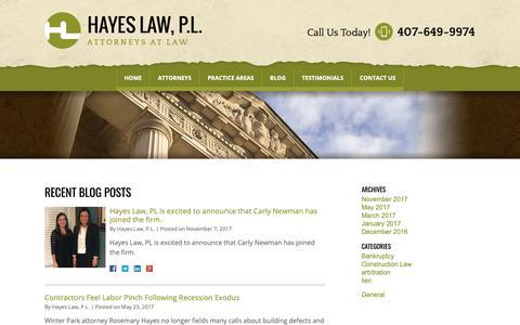 Screenshot of Blog const-law.com - Blog | Hayes Law, P.L. - captured Sept. 27, 2018