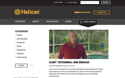 Screenshot of Case Studies Page heliconusa.com - Testimonials Archives - Helicon Property Restoration - captured Jan. 22, 2016