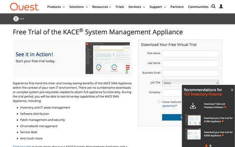 Screenshot of Trial Page quest.com - KACE System Management Appliance Virtual Trial - captured Sept. 21, 2018