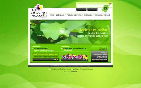 Screenshot of Home Page lacartuchera.com.ar - La Cartuchera Ecologica - Centro de Reciclado de cartuchos de impresion - captured Oct. 1, 2014
