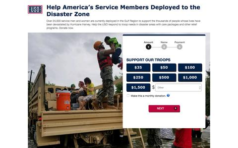 Screenshot of Landing Page uso.org - Donate | USO.org - captured Sept. 7, 2017
