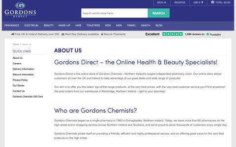 Screenshot of About Page gordonsdirect.com - About Us  - Gordons Chemists Online - captured Sept. 29, 2018