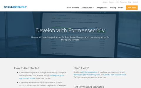 Screenshot of Developers Page formassembly.com - Developers - FormAssembly - captured Oct. 14, 2017