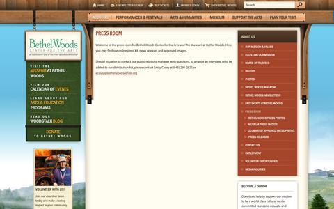 Screenshot of Press Page bethelwoodscenter.org - Press Room | Bethel Woods Center for the Arts - captured Sept. 27, 2018