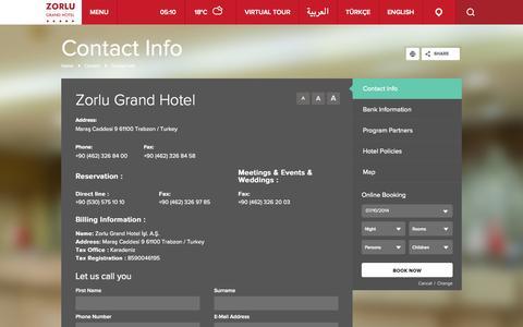 Screenshot of Contact Page zorlugrand.com - Zorlu Grand Hotel | Contact | Contact Info - captured Oct. 7, 2014
