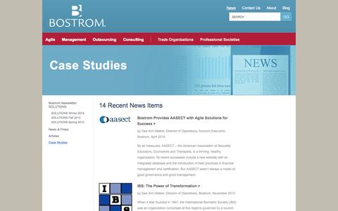 Screenshot of Case Studies Page bostrom.com - Case Studies | Bostrom - captured Sept. 30, 2014
