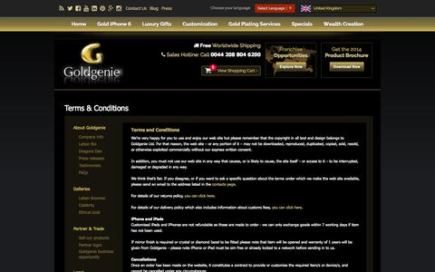 Screenshot of Terms Page goldgenie.com - Terms and Conditions | Gold Plating Business | GoldGenie Limited - captured Sept. 23, 2014