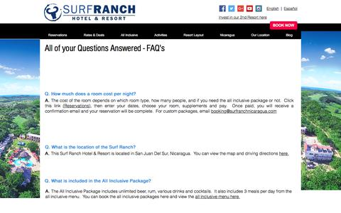 Screenshot of FAQ Page surfranchnicaragua.com - Frequently Asked Questions |  Surf Ranch Hotel & Resort - captured July 4, 2017