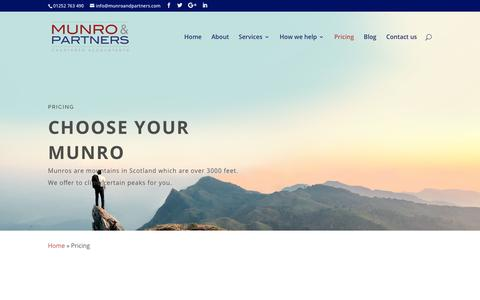 Screenshot of Pricing Page munroandpartners.com - Pricing | Munro & Partners - captured Oct. 19, 2018