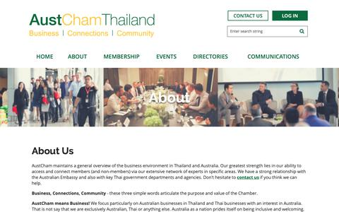 Screenshot of About Page austchamthailand.com - The Australian-Thai Chamber of Commerce (AustCham) - About Us - captured Oct. 18, 2018