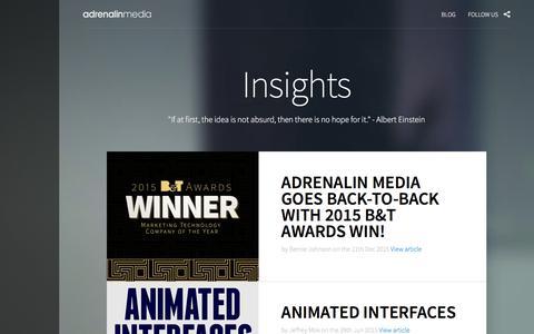 Screenshot of Blog adrenalinmedia.com.au - Digital Insights by Adrenalin Media - A Sydney based digital agency - captured Dec. 23, 2015