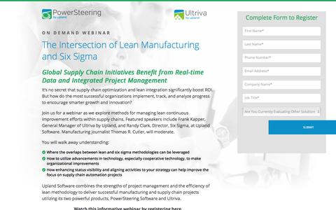 Screenshot of Landing Page uplandsoftware.com - PowerSteering & Ultriva Webinar: The Intersection of Lean Manufacturing and Six Sigma - captured Aug. 11, 2017