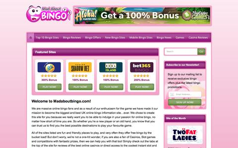 Screenshot of Home Page madaboutbingo.com - Mad About Bingo - Bingo Comparsion Site & Exclusive Offers - captured May 27, 2017