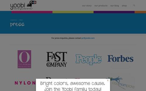 Screenshot of Press Page yoobi.com - Yoobi School Supplies | Press | One for You, One for Me - captured Sept. 25, 2014