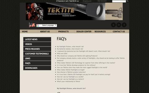 Screenshot of FAQ Page tek-tite.com - FAQ - captured Oct. 19, 2018