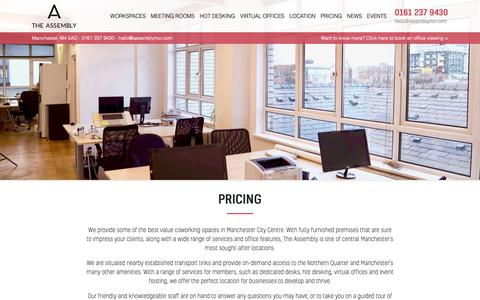Screenshot of Pricing Page assemblymcr.com - Pricing - The Assembly - captured Oct. 18, 2018