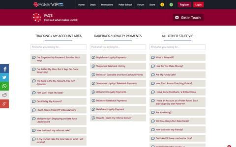Screenshot of FAQ Page pokervip.com - FAQ | PokerVIP - captured Oct. 28, 2014
