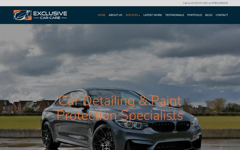 Screenshot of Home Page exclusivecarcare.co.uk - Car Detailing Bath - Bristol - Wiltshire | Vehicle Detailing in South West - captured Nov. 5, 2018